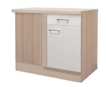 Küchen-Eckunterschrank FLORENZ - 1-türig - 110 cm breit - Perlmutt Weiß