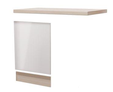 Möbelumbau-Set Küche FLORENZ - für teilintegrierten Geschirrspüler, inkl. Arbeitsplatte - Perlmutt Weiß