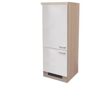 Midi-Kühlschrankumbauschrank Küche FLORENZ - 2türig - 60 cm breit - Perlmutt Weiß
