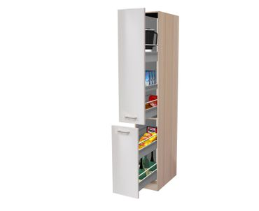Küchen-Apothekerschrank FLORENZ - 2 Front-Auszüge, 5 Schubkästen - Perlmutt Weiß