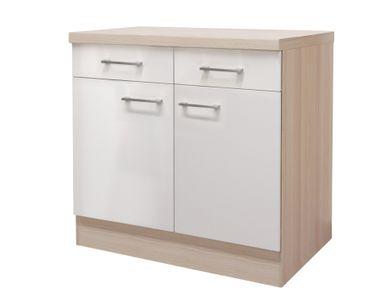 Küchen-Unterschrank FLORENZ - 2-türig - 80 cm breit - Perlmutt Weiß