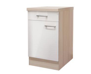 Küchen-Unterschrank FLORENZ - 1-türig - 50 cm breit - Perlmutt Weiß