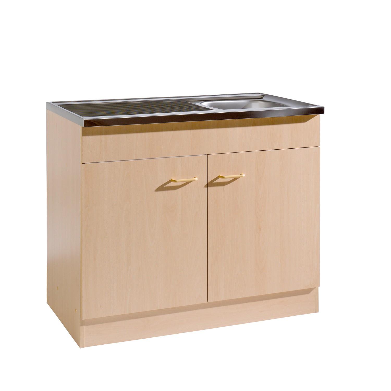 Küche Weiß Buche: Küchen-Spülenschrank