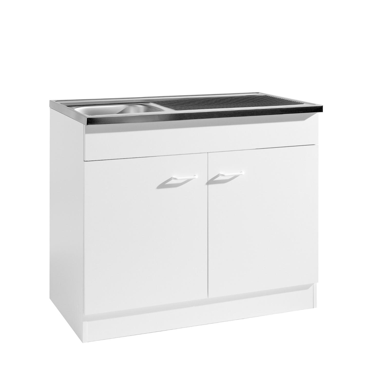 k che sp le sp lenschrank 100 x 60 cm sp lschrank 2 t ren weiss ebay. Black Bedroom Furniture Sets. Home Design Ideas