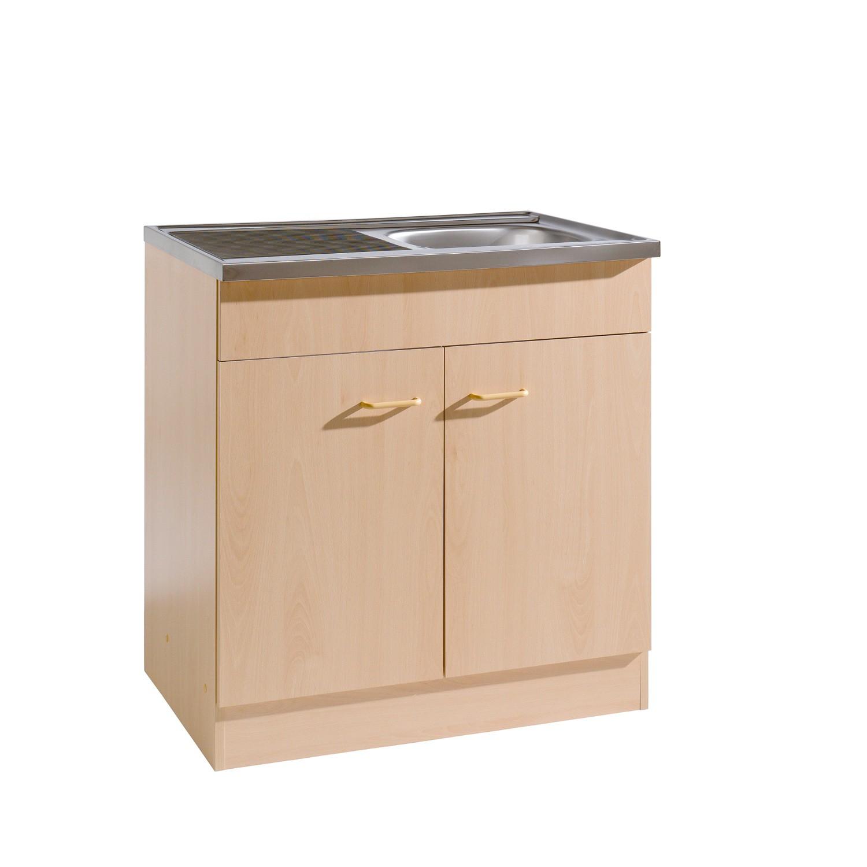 Küchen-Spülenschrank - 2-türig - Breite 80 cm, Tiefe 60 cm - Buche ...