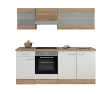 Küchenzeile ROM - mit E-Geräten und Glashängeschränken - 210 cm breit - Weiß