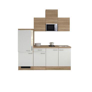 Singleküche ROM - mit Glaskeramik-Kochfeld und Mikrowelle - Breite 210 cm - Weiß