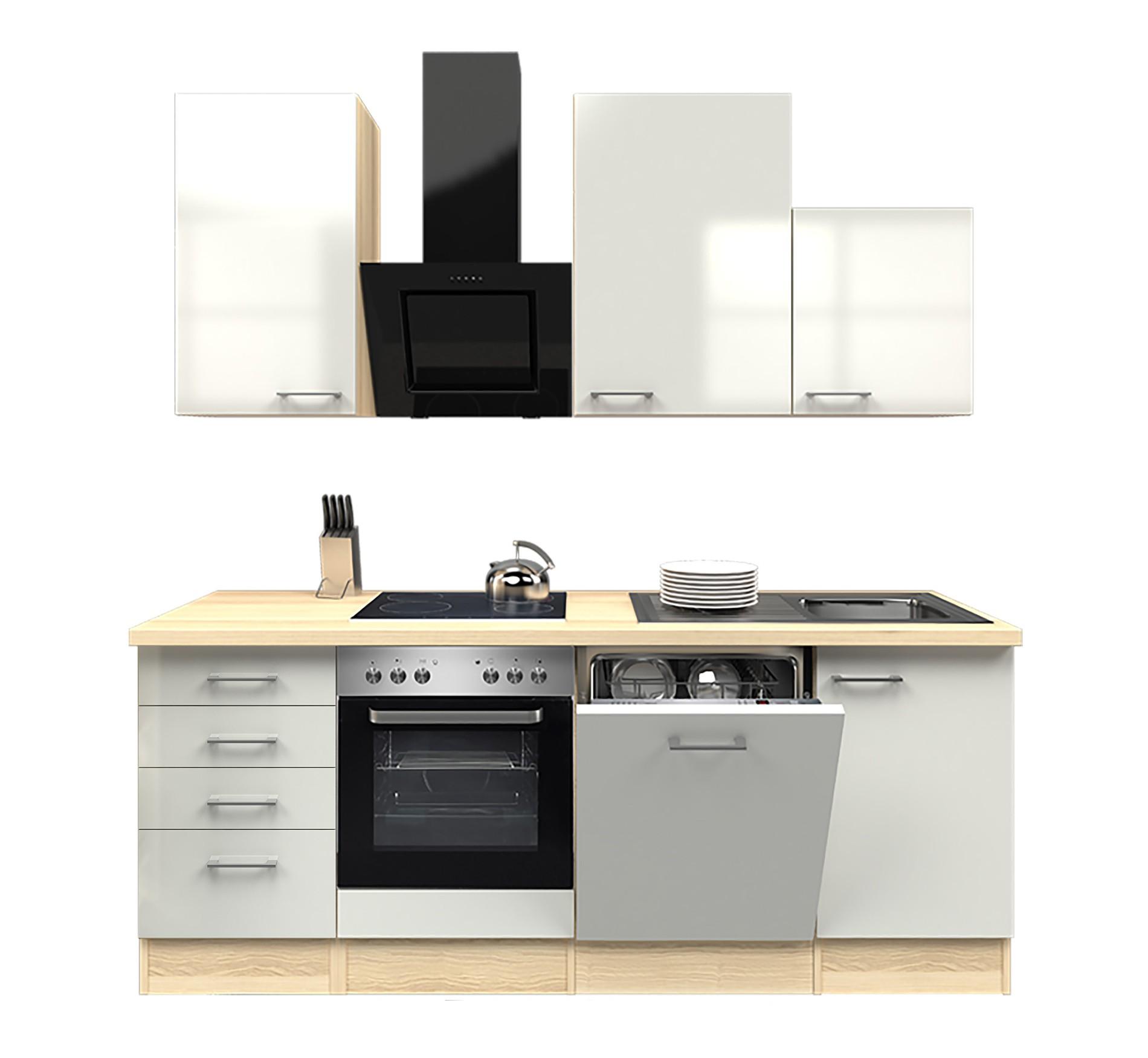 Küchenzeile FLORENZ - Küche mit Auszugs-Unterschrank - Breite 220 cm ...