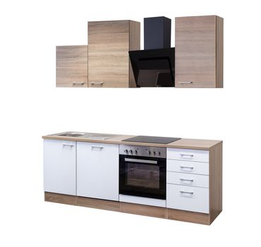 Küchenzeile ROM - Küche mit Auszugs-Unterschrank - Breite 220 cm - Weiß