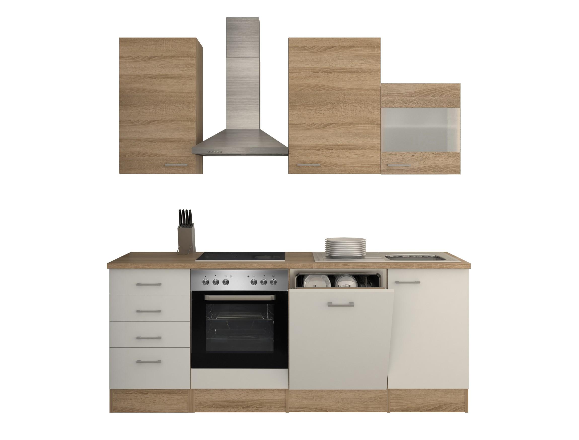 k chenzeile rom k che mit e ger ten und kamin abzugshaube 12 teilig breite 220 cm wei. Black Bedroom Furniture Sets. Home Design Ideas