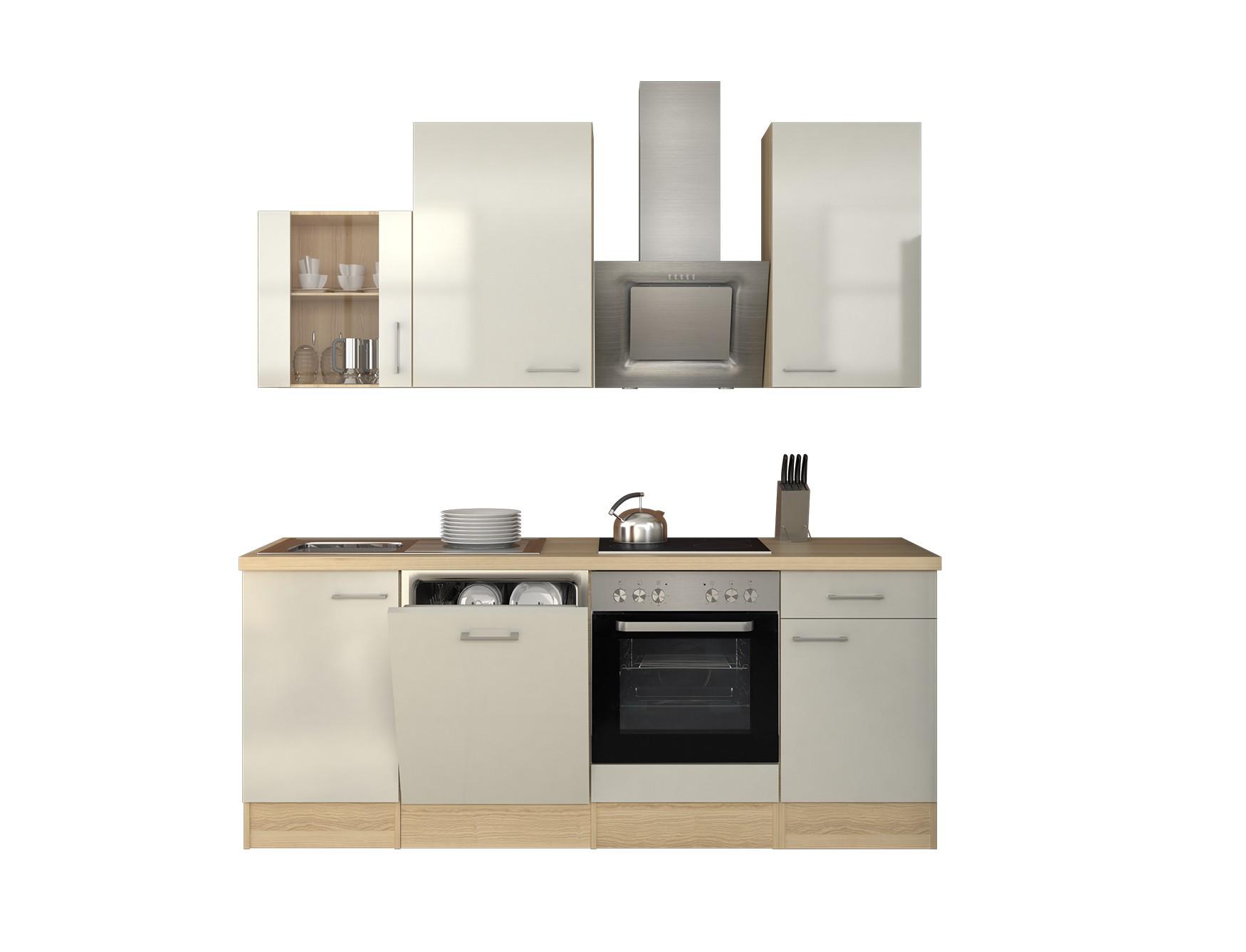 k chenzeile florenz k che mit e ger ten und glash nger breite 220 cm perlmutt wei k che. Black Bedroom Furniture Sets. Home Design Ideas