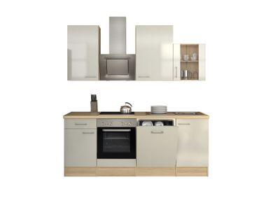 Küchenzeile FLORENZ - Küche mit E-Geräten und Glashänger - Breite 220 cm - Perlmutt Weiß