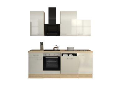 Küchenzeile FLORENZ - Küche mit Design-Abzugshaube - Breite 220 cm - Perlmutt Weiß