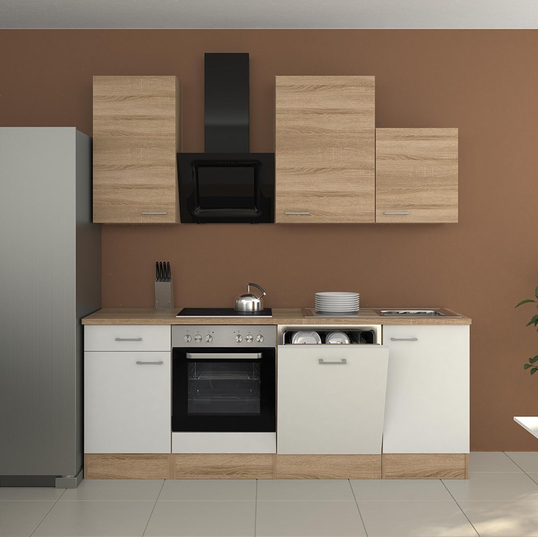 k chenzeile rom k che mit design abzugshaube breite 220 cm wei k che k chenzeilen. Black Bedroom Furniture Sets. Home Design Ideas