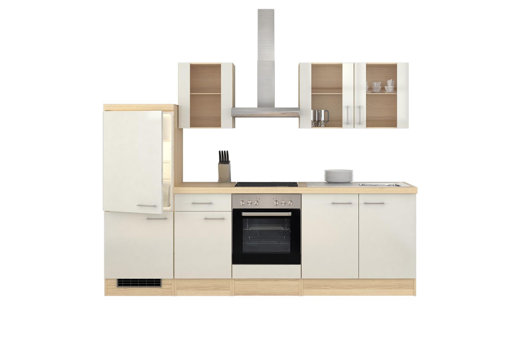 k chenzeile florenz mit midi umbauschrank und e ger ten 12 teilig breite 270 cm perlmutt. Black Bedroom Furniture Sets. Home Design Ideas