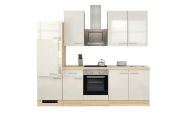 Küchenzeile FLORENZ - Küche mit E-Geräten und Est-Haube - Breite 270 cm - Perlmutt Weiß