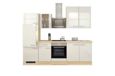 Küchenzeile FLORENZ - Küche mit E-Geräten und Glashänger - Breite 270 cm - Perlmutt Weiß