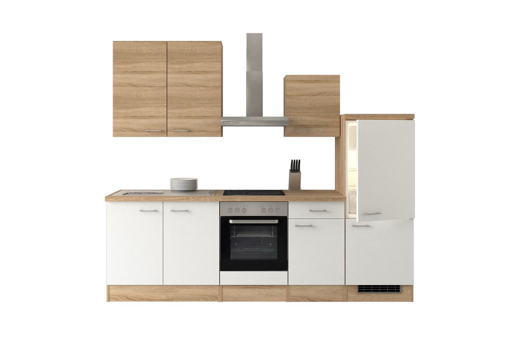 k che rom k chenzeile k chenblock mit elektroger ten 270 cm weiss ebay. Black Bedroom Furniture Sets. Home Design Ideas