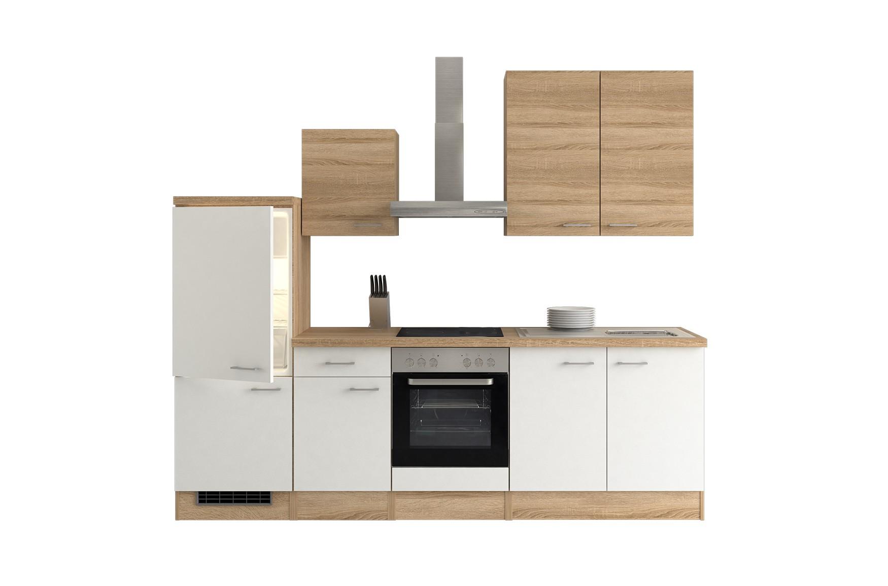 k chenzeile rom mit midi umbauschrank und e ger ten 13 teilig breite 270 cm wei k che. Black Bedroom Furniture Sets. Home Design Ideas
