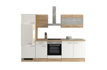 Küchenzeile ROM - Küche mit E-Geräten, 12-teilig - Breite 270 cm - Weiß