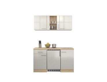 Singleküche FLORENZ - 9-teilig, 1 Glashänger - Breite 150 cm -  Perlmutt Weiß