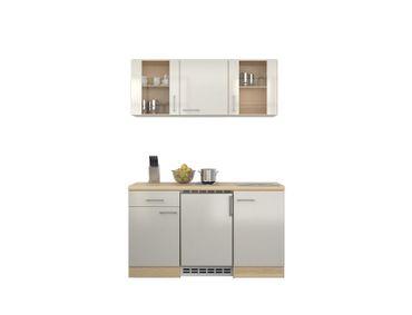 Singleküche FLORENZ - 9-teilig, 2 Glashänger - Breite 150 cm -  Perlmutt Weiß