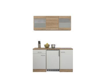 Singleküche ROM - 9-teilig, 2 Glashänger - Breite 150 cm - Weiß