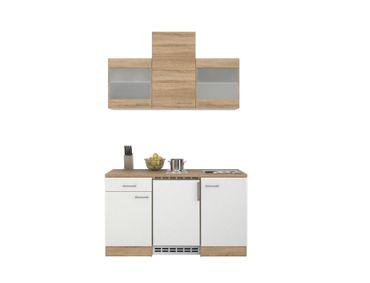 Singleküche ROM - mit 2 Glashängeschränken - Breite 150 cm - Weiß