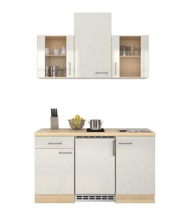 Singleküche FLORENZ - mit 2er Glaskeramik-Kochfeld - Breite 150 cm -  Perlmutt Weiß