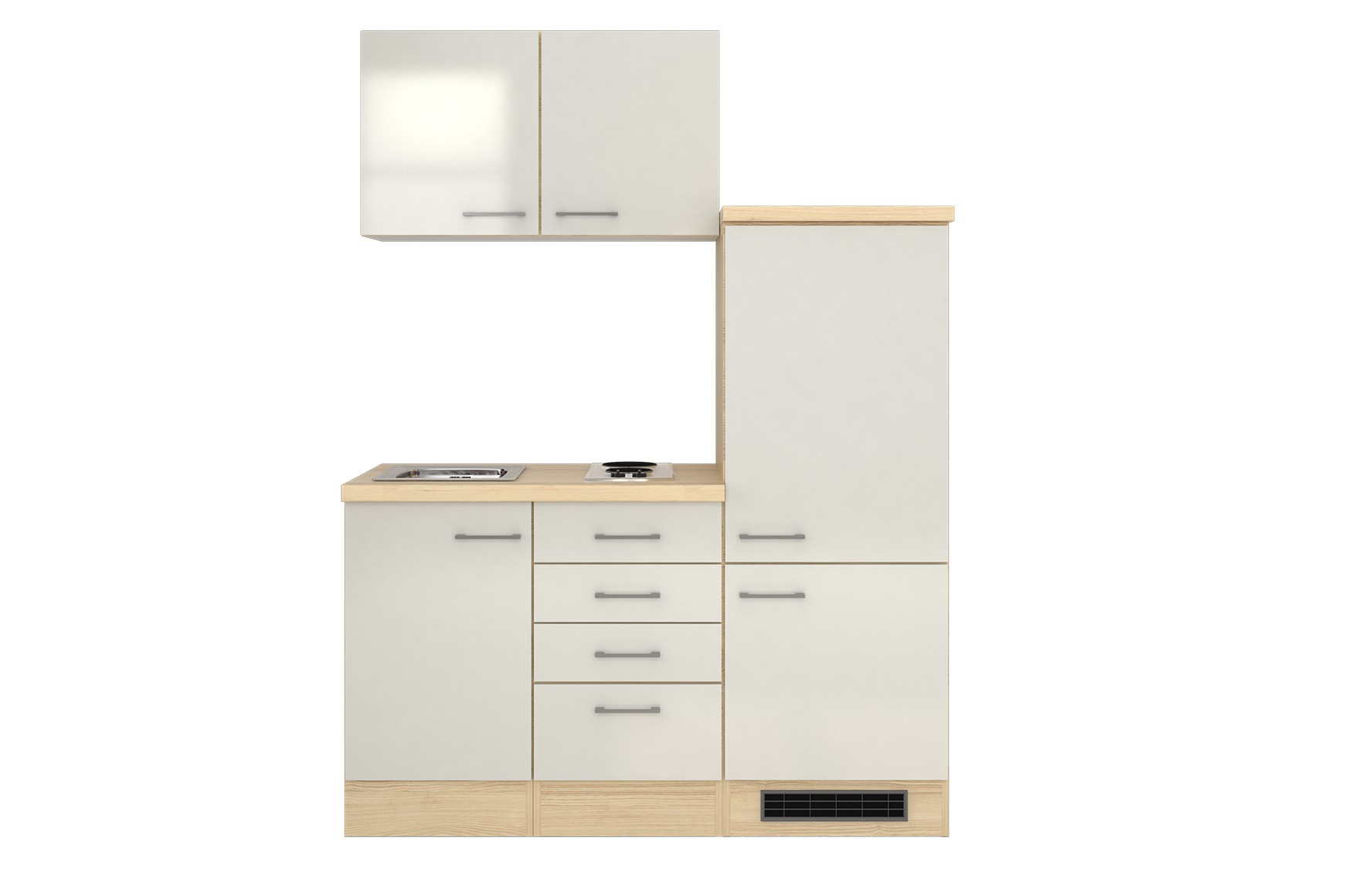 minik che florenz singlek che mit k hlschrank und kochfeld 160 cm weiss ebay. Black Bedroom Furniture Sets. Home Design Ideas