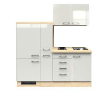 Singleküche FLORENZ - mit 2er Elektro-Kochfeld - Breite 190 cm - Perlmutt Weiß