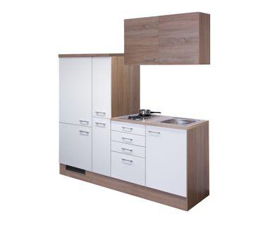 Singleküche ROM - mit 2er Elektro-Kochfeld - Breite 190 cm - Weiß