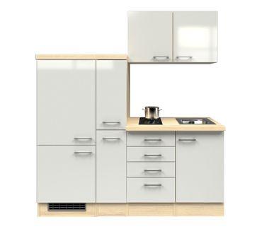 Singleküche FLORENZ - mit 2er Glaskeramik-Kochfeld - Breite 190 cm - Perlmutt Weiß