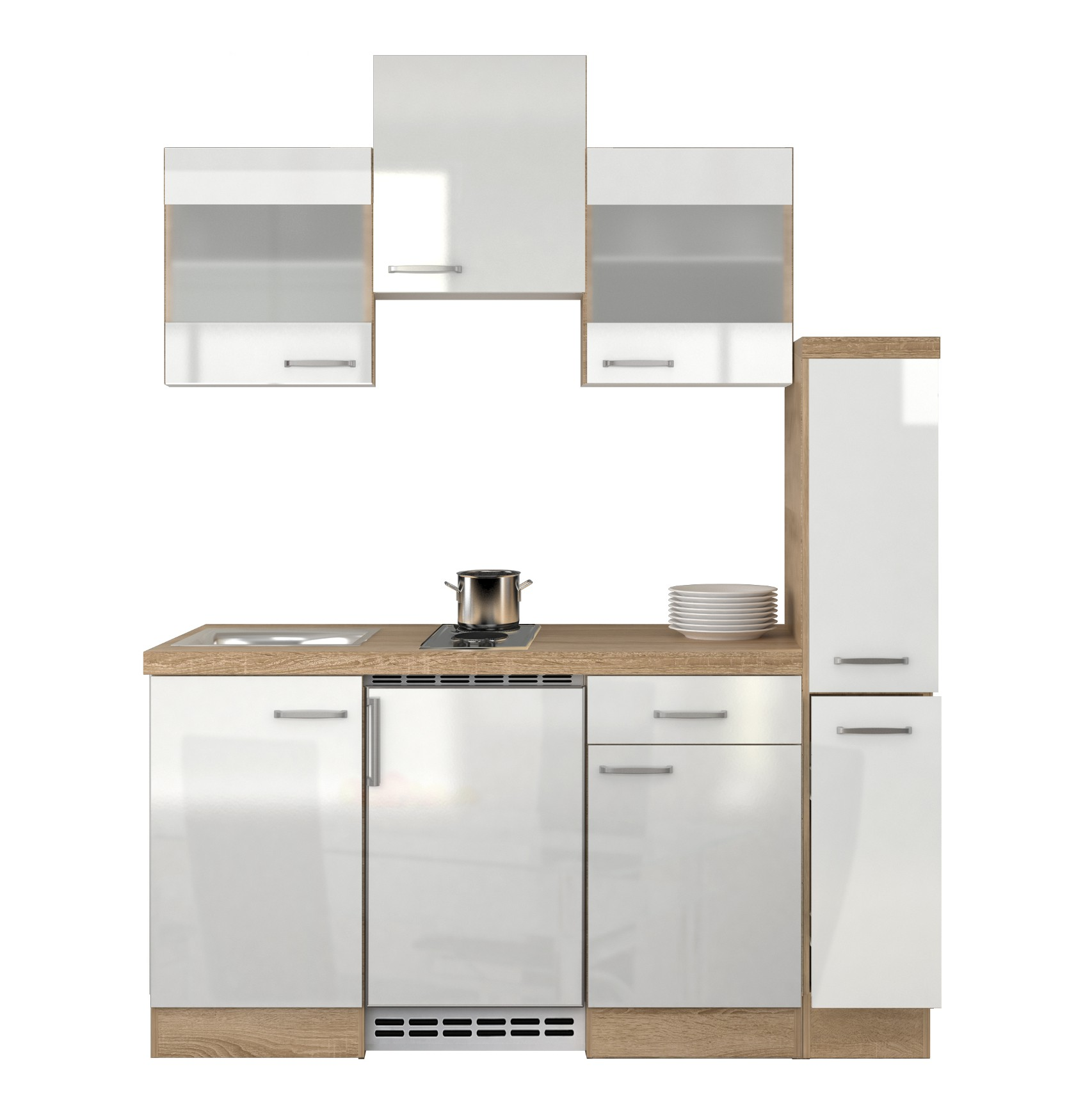 minik che venedig singlek che mit unterbau k hlschrank 180 cm weiss ebay. Black Bedroom Furniture Sets. Home Design Ideas