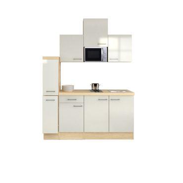 Singleküche FLORENZ - mit Elektro-Kochfeld und Mikrowelle - Breite 180 cm - Perlmutt Weiß