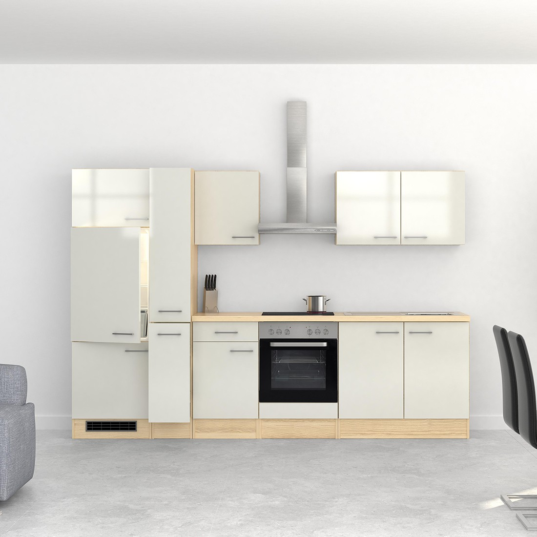 k chenzeile florenz k chenblock mit elektro ger ten 300 cm weiss ebay. Black Bedroom Furniture Sets. Home Design Ideas