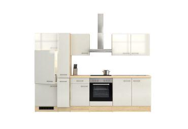Küchenzeile FLORENZ - Küche mit E-Geräten - 13-teilig - Breite 300 cm - Perlmutt Weiß
