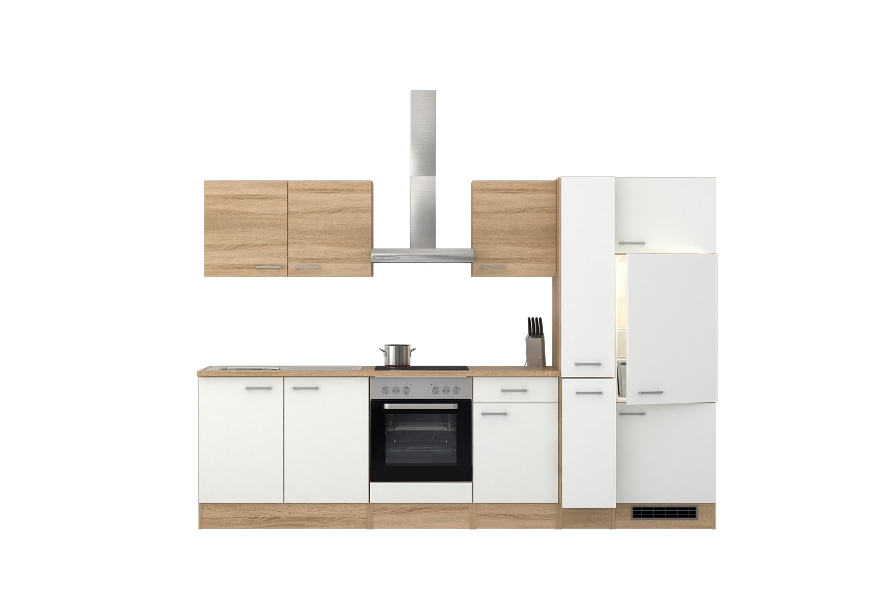 k chenzeile rom k chenblock mit e ger ten und apothekerschrank 300 cm weiss ebay. Black Bedroom Furniture Sets. Home Design Ideas