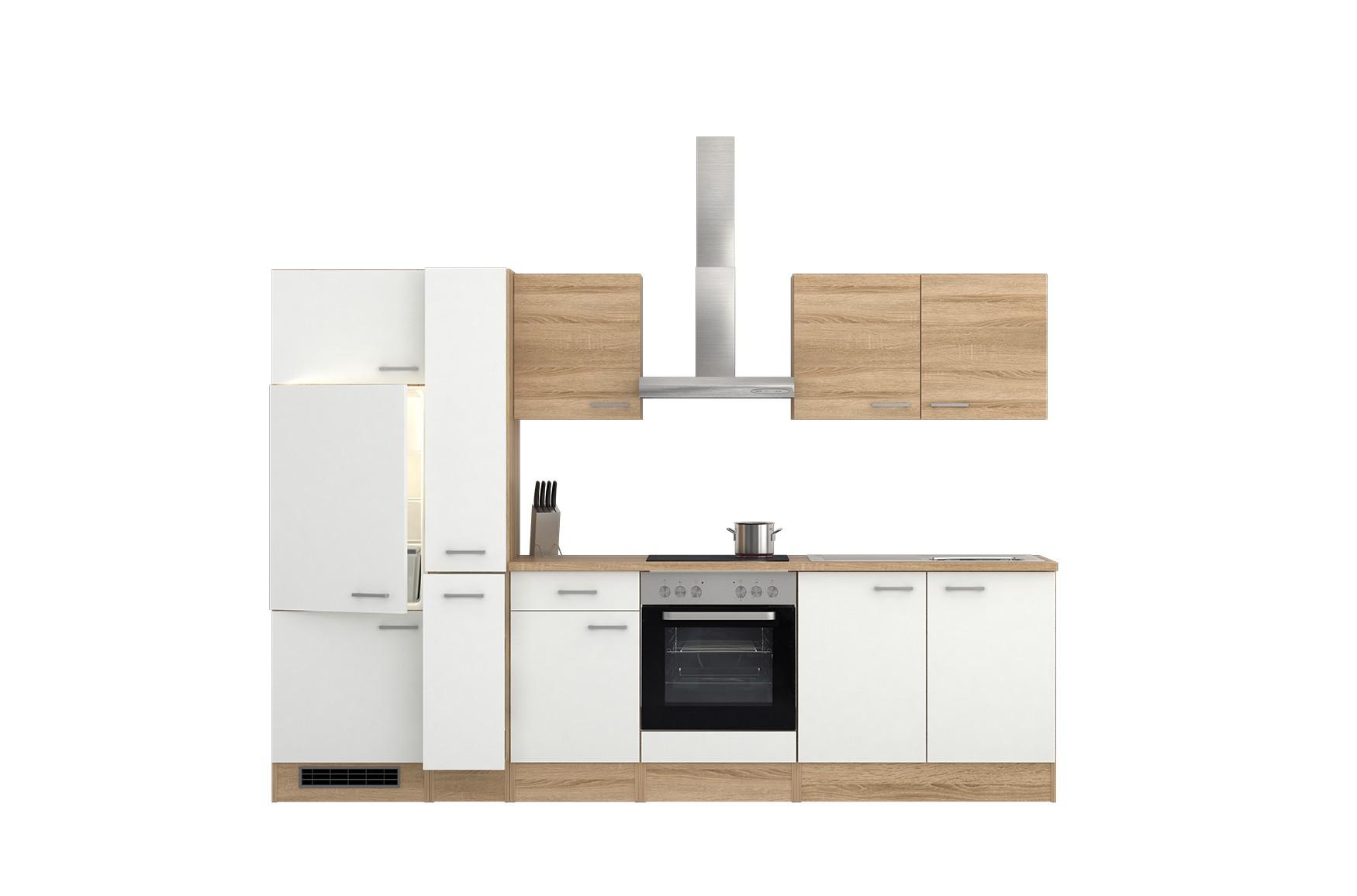 k chenzeile rom k che mit e ger ten 13 teilig breite 300 cm wei k che k chenzeilen. Black Bedroom Furniture Sets. Home Design Ideas