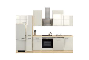 Küchenzeile FLORENZ - Küche mit E-Geräten - 15-teilig - Breite 310 cm - Perlmutt Weiß