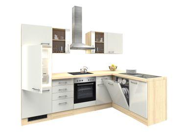 Eckküche FLORENZ - Küche mit E-Geräten, 2 Glashänger - Breite 280 x 170 cm - Perlmutt Weiß
