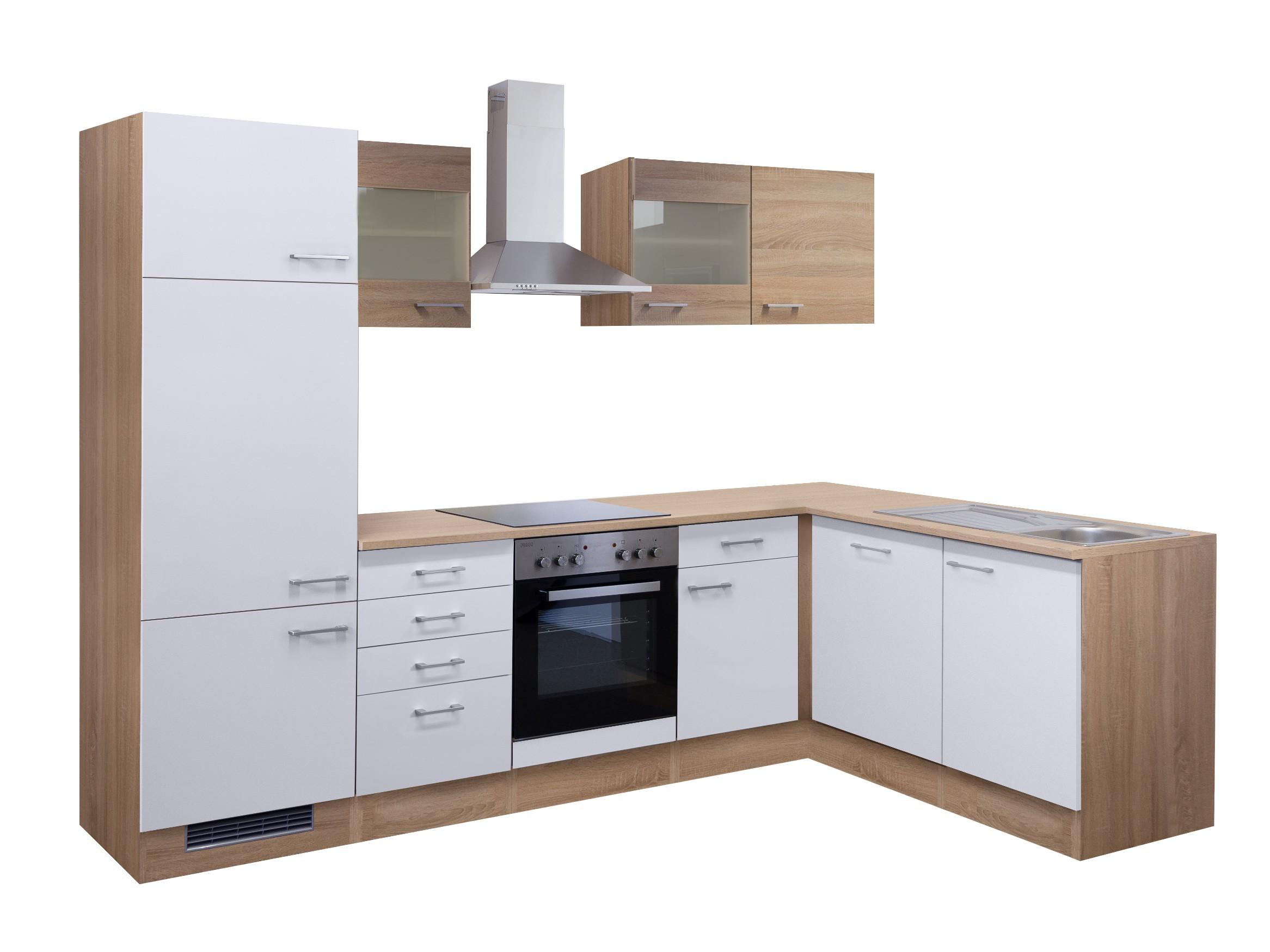Eckküche ROM - Küche mit E-Geräten, 2 Glashänger - Breite 280 x 170 ...