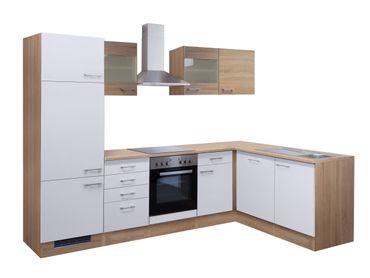 Eckküche ROM - Küche mit E-Geräten, 2 Glashänger - Breite 280 x 170 cm - Weiß