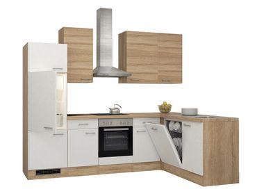 Eckküche ROM - Küche mit E-Geräten - Breite 280 x 170 cm - Weiß