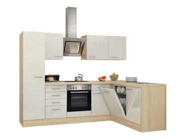 Eckküche FLORENZ - Küche mit E-Geräten - Breite 270 x 170 cm - Perlmutt Weiß