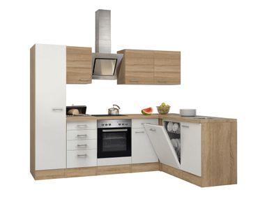 Eckküche ROM - Küche mit E-Geräten - Breite 270 x 170 cm - Weiß