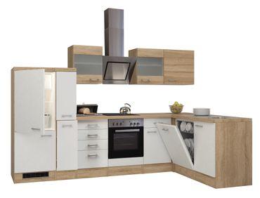 Eckküche ROM - Küche mit E-Geräten - Breite 310 x 170 cm - Weiß