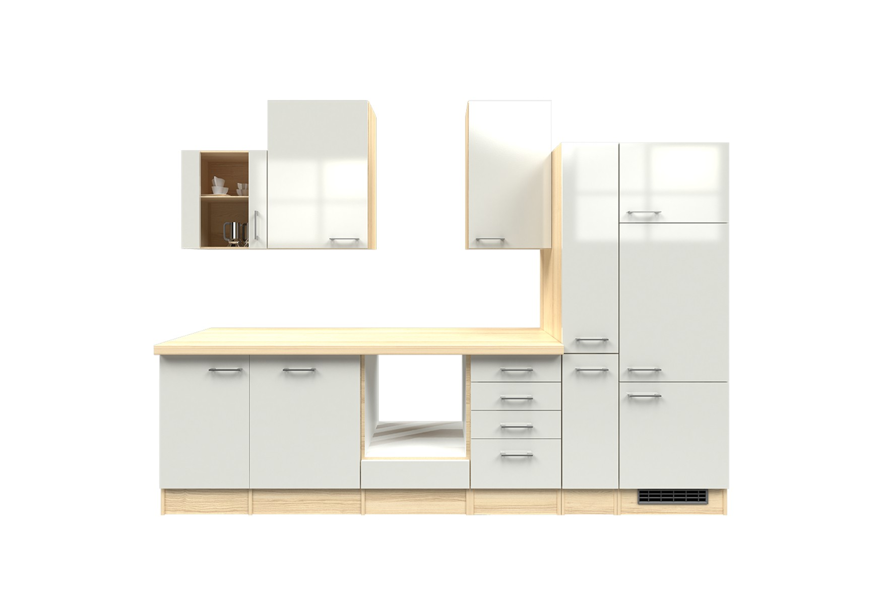 k chenzeile florenz k chenleerblock mit glash ngeschrank 310 cm weiss ebay. Black Bedroom Furniture Sets. Home Design Ideas