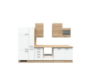 Küchenzeile ROM - Küchen-Leerblock mit Glashänger - Breite 310 cm - Weiß