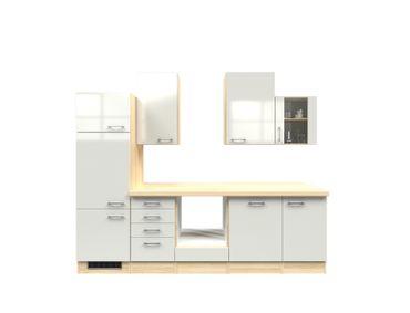 Küchenzeile FLORENZ - Küchen-Leerblock - Breite 280 cm - Perlmutt Weiß